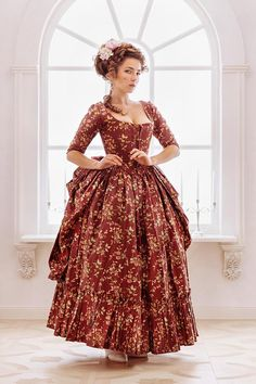 Robe a la polonaise woman gown century Europe. 18th Century Dress, 18th Century Costume, 18th Century Clothing, 18th Century Fashion, 19th Century, Rococo Fashion, 1800s Fashion, Vintage Outfits, Vintage Gowns