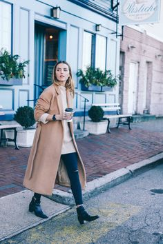 Nordstrom Topshop Long Wool Coat Moto Jeans Saint Laurent Jodphur Booties Prosecco and Plaid Fall Winter Outfits, Winter Wear, Autumn Winter Fashion, Winter Style, Mode Outfits, Fashion Outfits, Long Wool Coat, Long Coats, Camel Coat