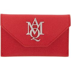 Alexander McQueen Red Insignia Envelope Card Holder (£200) ❤ liked on Polyvore featuring bags, wallets, red, alexander mcqueen bags, snap wallet, alexander mcqueen wallet, full grain leather bag and card carrier wallet