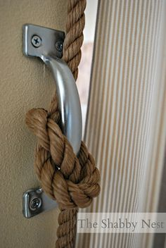 The Shabby Nest: An Ingenious Way to Hang Curtains -- as a room divider Diy Curtains, Hanging Curtains, Window Coverings, Window Treatments, Window Dressings, Curtain Rods, Curtain Call, Fibres, Home Projects
