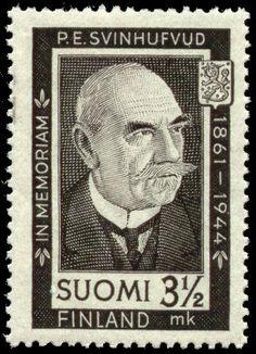 Suomen presidentit postimerkeissä - P. Svinhufvud in memoriam Postage Stamps, Finland, Black And Grey, Gray, History, Gallery, Cards, Collection, Portraits