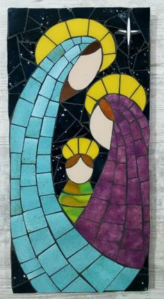 Cuadro Stained Glass Quilt, Stained Glass Crafts, Faux Stained Glass, Stained Glass Patterns, Mosaic Patterns, Mosaic Wall Art, Mosaic Diy, Tile Art, Mosaic Tiles
