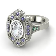 Oval White Sapphire Palladium Ring with Iolite & Alexandrite - Arya Ring | Gemvara
