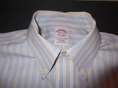 BROOKS BROTHERS Men's L/S Dress Shirt 15.5 2-3 Blue Yellow White Stripe Sharp!