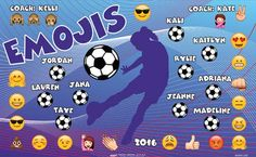 Emojis B53093-2of2  digitally printed vinyl soccer sports team banner. Made in the USA and shipped fast by BannersUSA.  You can easily create a similar banner using our Live Designer where you can manipulate ALL of the elements of ANY template.  You can change colors, add/change/remove text and graphics and resize the elements of your design, making it completely your own creation.