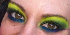 Eye make up, bright bold green blue purple the duck crazy unique art design shadows