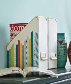 House Decorating with Washi Tape / Decora tu Casa Decorate magazine holders with washi tape