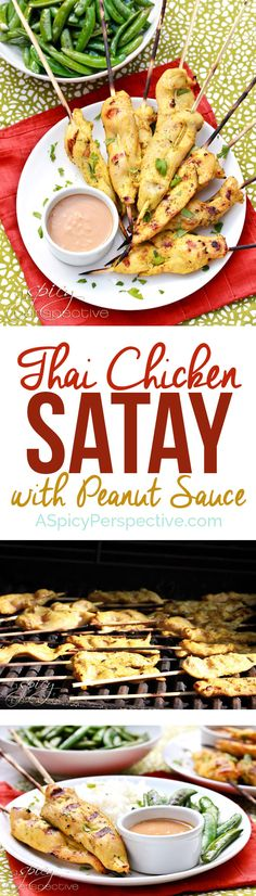 Easy Thai Chicken Satay With Peanut Sauce | ASpicyPerspective.com via @spicyperspectiv