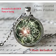 Space Nova Burst Custom Gallifreyan Symbol White Ancient Doctor Who Space Glass Photo Pendant Silver Necklace Jewelry by ChicBridalBoutique on Opensky