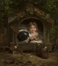 Artwork by Joseph Henry Sharp, A girl and her dog in a dog house, Made of oil on canvas Art For Kids, Art Children, Oil On Canvas, Joseph, Mona Lisa, Dogs, Artwork, Painting, Image
