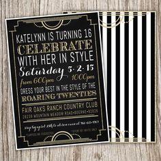 Art Deco, Great Gatsby, Roaring Twenties, Birthday, Bridal, Party, Event, Sweet Sixteen, Sweet 16, Quinceanera, Invitation by JeannineAubreyDesign on Etsy https://www.etsy.com/listing/229127438/art-deco-great-gatsby-roaring-twenties