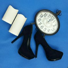 Suede black heels Suede black heels size no trades on  these Anne Michelle Shoes Heels