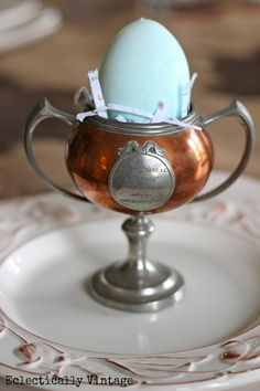 Spring Table - from the DIY bunny table runner to the trophy egg cups ...  eclecticallyvintage.com