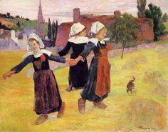 La ronde des petites bretonnes, Pont Aven - Peinture de Paul Gauguin