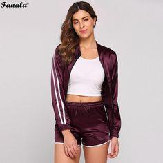 00bd6e2d6b Women Sporting Suits 2017 Autumn Two Piece Set Women Tracksuit Baseball  Collar Patchwork Jacket Coat and Shorts Suit Set Tops