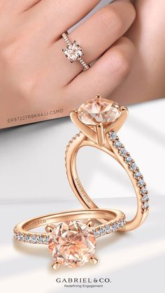 With an elegantly refined silhouette, this 14k rose gold engagement ring allows the round cut morganite center stone to truly shine. #MorganiteEngagementRing #RoundEngagementRings #RoseGoldEngagementRings #GabrielNY #UniqueJewelry Perfect Engagement Ring, Rose Gold Engagement Ring, Gabriel Jewelry, Morganite Engagement, Fine Jewelry, Unique Jewelry, Round Cut Diamond, Jewelry Branding, Jewelery