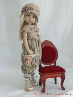 Pooh Romper set 3 pc for Effner Little Darling BJD handmade by JEC American Girl Crafts, American Doll Clothes, Girl Doll Clothes, Doll Clothes Patterns, Doll Patterns, Crochet Doll Dress, Knitted Dolls, Pretty Dolls, Beautiful Dolls