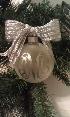 Large Frosted Glass Monogram Christmas Tree Ornament