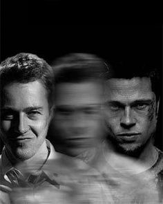 This picture represents the identity crisis the narrator has. The blurry image between Edward Norton and Brad Pitt symbolizes realization that Tyler Durden is actually the narrator. #rothzroom