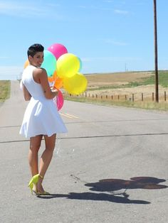 Little white dress with neon accents