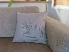 SALE - Fern Design Cushion Cover in Taupe