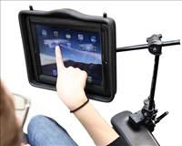 iPad Mounting System from Enabling Devices.  Does not clamp to a Permobil or other powerchair seatbase.  Seatbase attachment may be preferable.  $297.00
