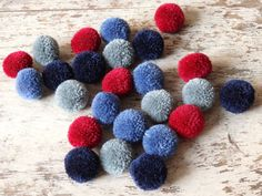 NEW Hmong Hill Tribe pom poms  Winter mix 25 pcs. by TintinBeads