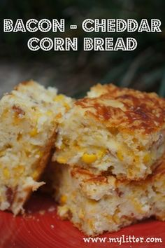 One of our favorite side dishes is this Bacon Cheddar Corn Bread. Baking powder buttermilk bread with cream corn, corn, bacon & cheddar. square or loaf. Tapas, Biscuits, Corn Bread, I Love Food, So Little Time, The Best, Food And Drink, Cooking Recipes, Cooking Tips