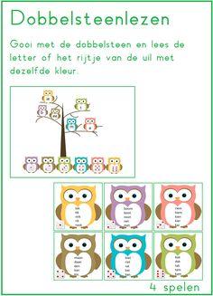 Dobbelsteen lezen met de letters van thema 2 van Lijn 3