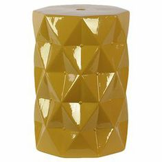 """Featuring a geometric tuft-inspired design and yellow finish, this ceramic garden stool brims with eye-catching appeal.   Product: Garden stoolConstruction Material: CeramicColor: YellowFeatures: Geometric tuft-inspired designDimensions: 18"""" H x 12.3"""" Diameter"""