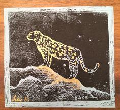 Snow Leopard Hand Print custom gold acrylic by HartungDesignsCo