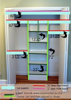 A Custom Closet DIY. This would look great for b's closet Deep Closet, Kid Closet, Closet Bedroom, Diy Bedroom, Trendy Bedroom, Closet Space, Bedroom Ideas, Bathroom Closet, Bedroom Apartment