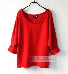 包邮 秋季欧美风新款女装大圆领斜肩宽松套头大码红色卫衣女外套-淘宝网