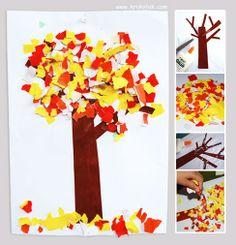 herfstboom met snippers