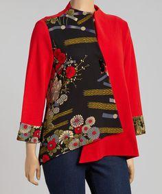 Look what I found on #zulily! Red & Black Floral Patchwork Jacket - Plus #zulilyfinds