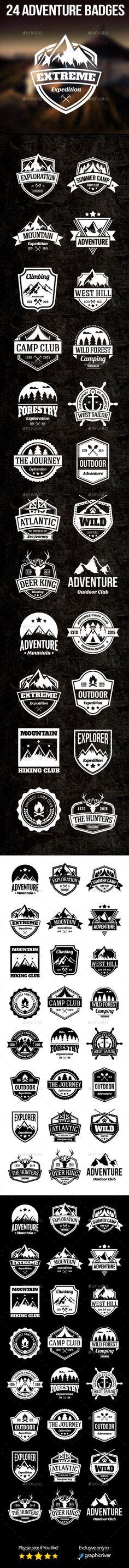 24 Adventure Badges Tempalte #design Download: http://graphicriver.net/item/24-adventure-badges/12535313?ref=ksioks