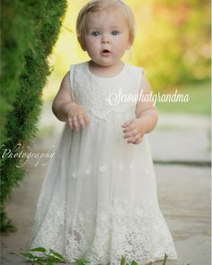 Items Similar To Off White Flower Dress Fl Lace Baptism Beach Cow Country Bridesmaids Size 2t 7t On Etsy