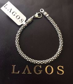 Lagos Caviar Bead Sterling Silver Rope Chain Bracelet Nwt 225
