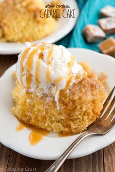 This easy and fast Slow Cooker Caramel Cake is the perfect dessert for any occasion! Serve it straight from the crockpot warm with ice cream!