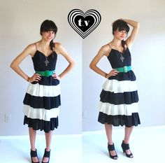 vtg 80s bw Tiered RUFFLE colorblock PARTY DRESS by TigerlilyFrocks, $61.00