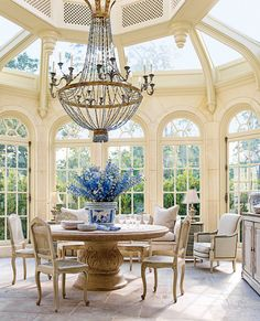 While the chandelier is a bit much for me, the rest is lovely. I might change up the chairs. via The Exquisite Home