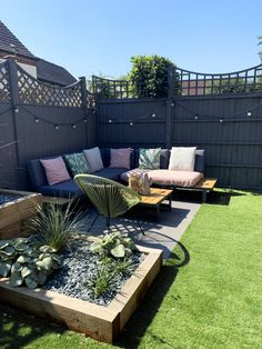 Backyard Ideas Discover Our Garden Renovation - Katie Ellison Backyard Seating, Backyard Patio Designs, Small Backyard Landscaping, Garden Seating, Garden Sofa, Pergola Patio, Gravel Landscaping, Small Backyard Design, Fenced In Backyard Ideas