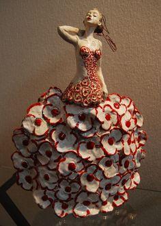 Sculpture Céramique Fille Fleur 2010 Pauline Wateau