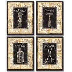 4 Vintage Barber Shop Art Prints Shave Scissors 8 x 10