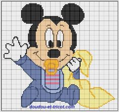 Discover thousands of images about Baby Mickey Cross Stitch Baby, Cross Stitch Kits, Cross Stitch Charts, Cross Stitch Patterns, Mickey Mouse, Mickey Disney, Animated Disney Characters, Crochet Blanket Edging, Crochet Disney