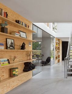 plywood shelves by Interior Architects Plywood Shelves, Plywood Walls, Wall Shelves, Bookshelf Wall, Interior Architecture, Interior And Exterior, Plywood Interior, Villa, Interior Decorating