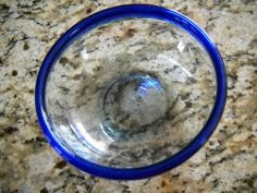 "bambi giles | Hand Blown Bubble Clear Glass with Cobalt Blue Rim 6 1/2"" x 2 ... 
