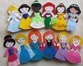 FULL SET Disney Princess Felt Finger Puppets - Felt Dolls