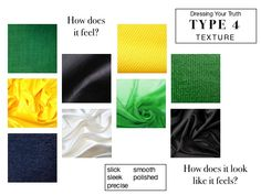 Great description of the kinds of fabrics I like. Clear Winter, Deep Winter, Dyt Type 4 Clothes, Winter Typ, Type 4 Hair, Soft Classic, Season Colors, T 4, Signature Style