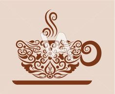Vector Graphics of A Cup Of Coffee Drawing With Floral Ornament ...